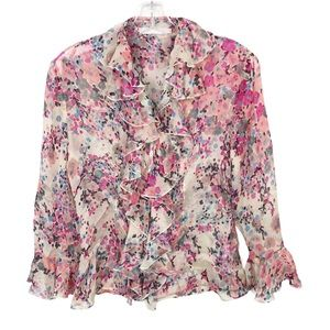 Anne Fontaine Floral Ruffle Button Up Blouse 38